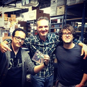 Felipe Raposo, Jorg Dorschner and Marcel Ziul at the Bogner Amplifier Factory in Hollywood, CA.