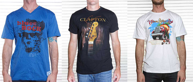 """""""Awaken The Soul"""" Blues Rock shirt, Eric Clapton """"Blackie"""" shirt, Allman Brothers Band """"Road Goes On Forever"""" shirt."""
